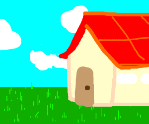 A house with a red roof infront of some grassy