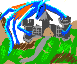 blue dragon hugging a castle