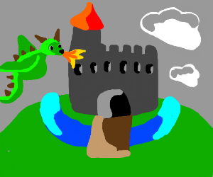 Dragon Attacking Castle