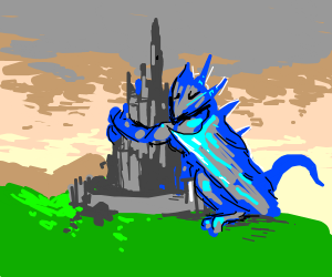 Beautiful ice dragon hugging castle