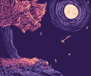 Tree, Moon, & Starry Sky