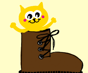 small catto in very big boot