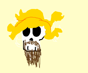 skeleton with a beard with yellow snake hair
