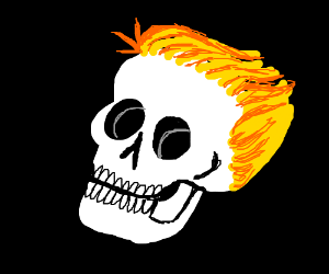 A human skull with hair