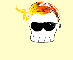 A cool looking skull with yellow-orange hair