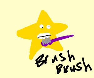 Mr Star is brushing his teeth!