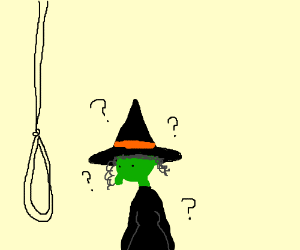 Witch perplexed about a noose
