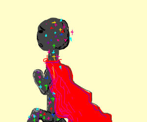 a sparkly stick man with red cape running