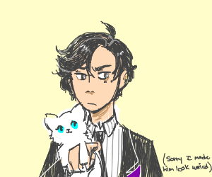 Dude in a suit holding a white cat