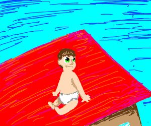 Baby manages to climb onto a rooftop