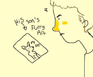 Dad is disappointed at son's drawings