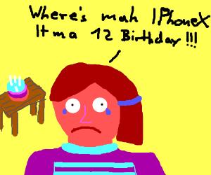 rude 12 yeard on her birthday