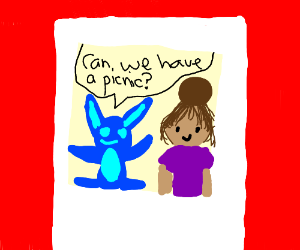 Stitch asking Lilo for a picnic while on a pic