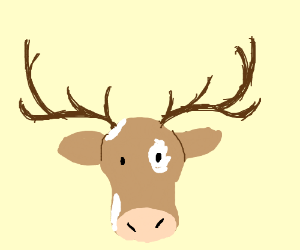 Cow with antlers