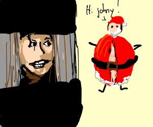 giant fat santa says hi to johnny
