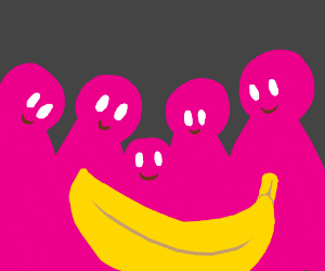Banana with happy pink people