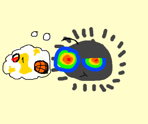 Hallucinating soot sprite ponders playing well