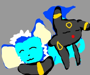 Vaporeon and Umbreon cuddling