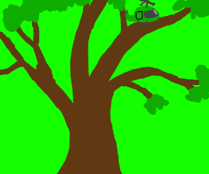 green hellicopter on a tree
