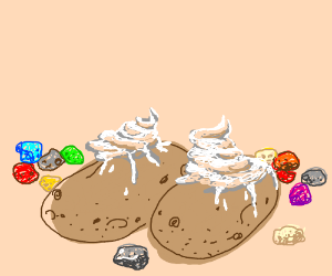 Filled with cream and candy rocks on potato...