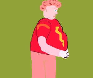 Fat guy with red lightning shirt