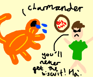 charmander is crying over what trainer did
