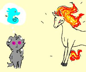 Espurr mistakes a Rapidash for a Horsea