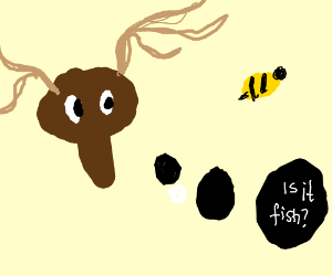 """Moose looks at bee. """"Is it a fish?"""" he thinks."""