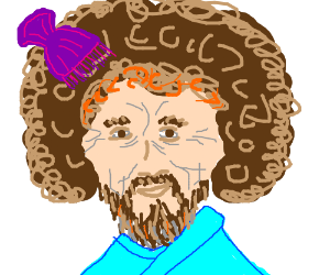 Bob Ross trying out the Afro Comb
