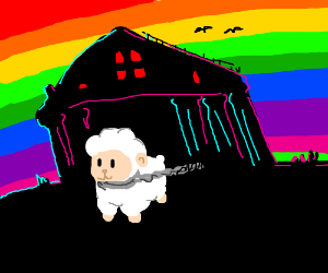 sheep chained to a house with a rainbow back