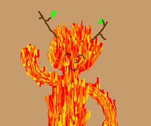 fiery girl with stick horns
