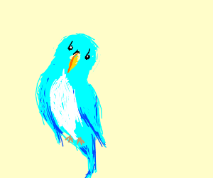 """brb"" drawn into a bird. b are eyes. r is beak"