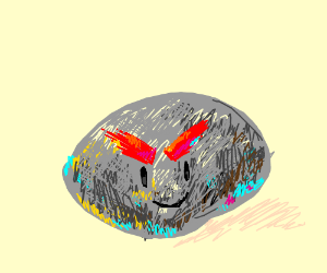 stone with giant red eyebrows