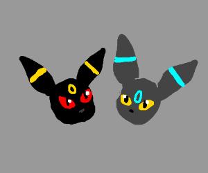 Umbreon and shiny umbreon