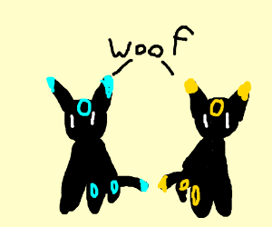 Shiny and normal Umbreon barking