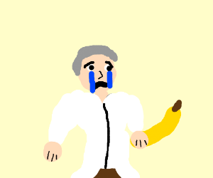 scientist crying over bananana