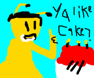 A bee eating a cake.