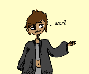 "Shady guy with black coat says ""wah?"""
