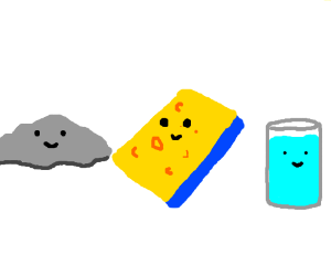 Sponge, rock, & glass of water all with faces