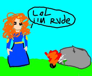 Merida blowing a dandelion on rock
