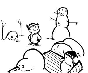 Calvin and his crazy snowmen