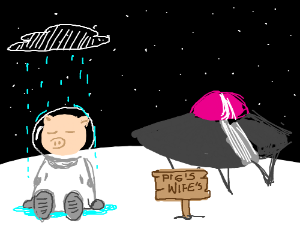 spacepig sad in rain in front of wife's ufo