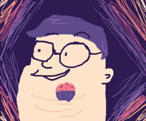 fat man balances muffin on head
