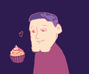 a boy with a big chin loves his cupcake