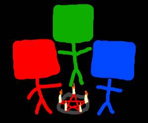 Colourful cube men perform a Satanic ritual
