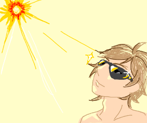 A guy staring at the sun with sunglasses