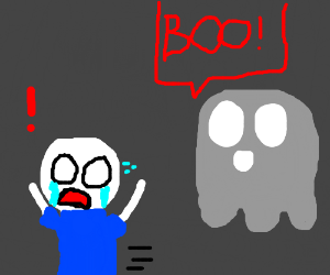 "Man Terriffied at Sight of Ghost Saying ""BOO!"""