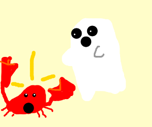 Ghost scares crab