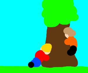 Two children eat a tree