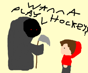 Death asking a kid to play hockey with him